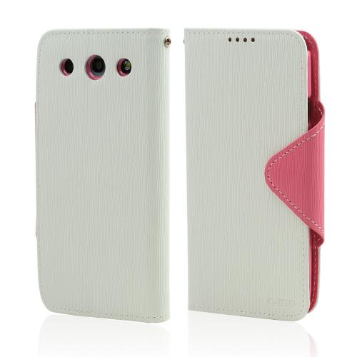 White/ Hot Pink Faux Leather Diary Flip Case w/ ID Slots, Bill Fold, & Magnetic Closure for LG Optimus G Pro