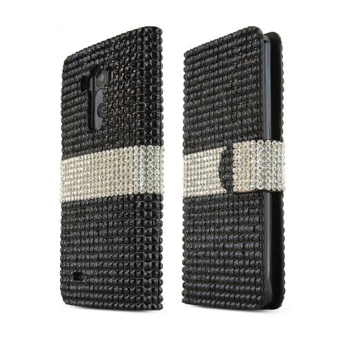 Black Bling w/ Silver LG G3 Faux Leather Diary Flip Case w/ ID Slots, Bill Fold, & Magnetic Closure - Keep Everything You Need in 1 Place!