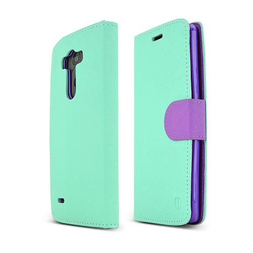 Redshield Mint/ Purple Lg G3 Faux Leather Diary Flip Case W/ Id Slots, Bill Fold, & Snap Close Magnet {free Screen Protector & Stand!}