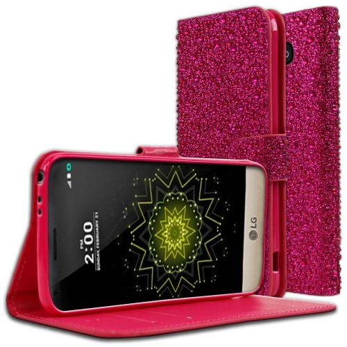 LG G5 Wallet Case, REDshield® [Hot Pink Bling] Front Flip Cover with Built-in Card Slots, Magnetic Flap