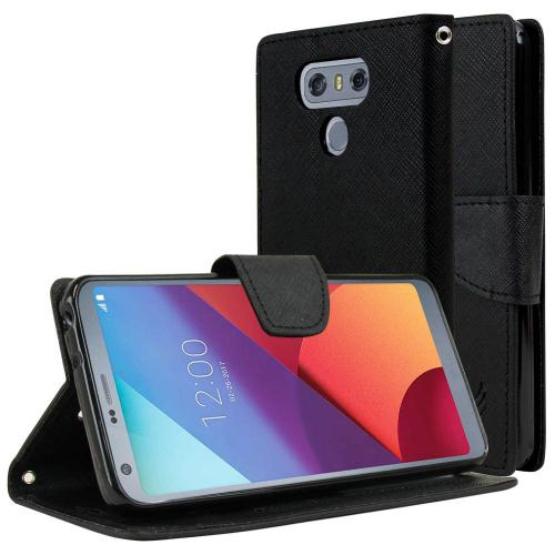 LG G6 Wallet Case, [Black] Kickstand Feature Luxury Faux Saffiano Leather Front Flip Cover with Built-in Card Slots, Magnetic Flap