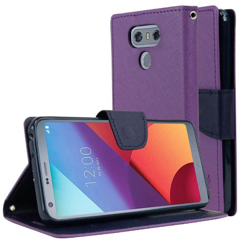 LG G6 Wallet Case, [Purple/ Navy] Kickstand Feature Luxury Faux Saffiano Leather Front Flip Cover with Built-in Card Slots, Magnetic Flap