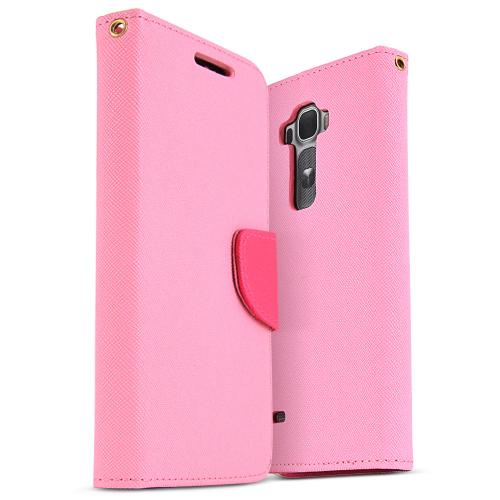 Baby Pink Saffiano Texture Faux Leather Front Flip Wallet Case for LG G Flex 2