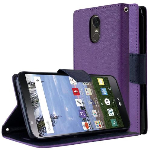LG Stylo 3 Diary Case, [Purple/ Blue] Kickstand Feature Luxury Faux Saffiano Leather Front Flip Cover with Built-in Card Slots, Magnetic Flap