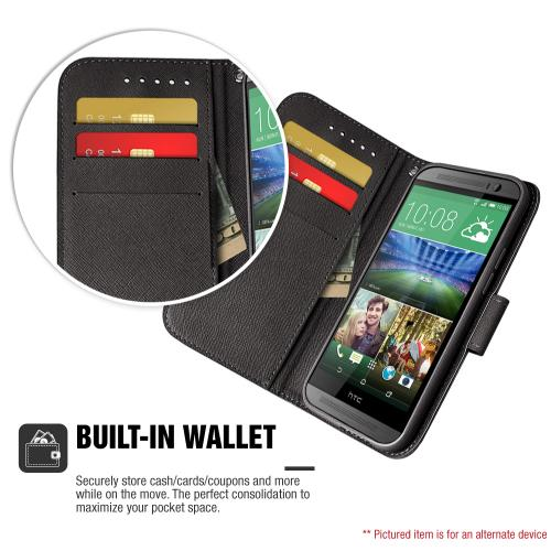 LG G Stylo Wallet Case, Black Saffiano Texture Faux Leather Front Flip Stand Feature Wallet Case