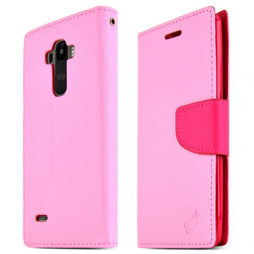 LG G Stylo Wallet Case, Baby Pink Saffiano Texture Faux Leather Front Flip Stand Feature Wallet Case