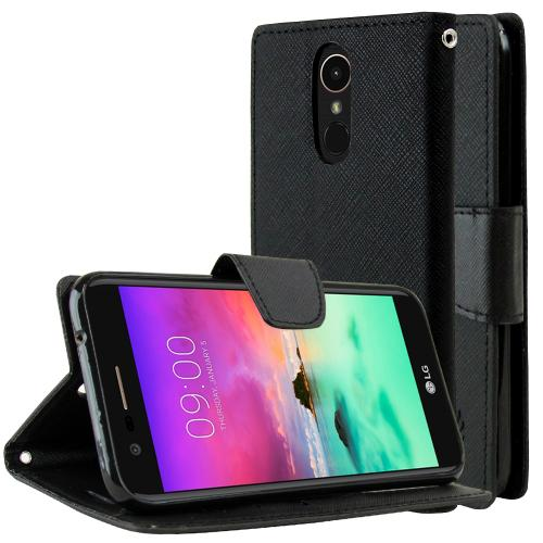 LG K10 (2017) Wallet Case, [Black] Kickstand Feature Luxury Faux Saffiano Leather Front Flip Cover with Built-in Card Slots, Magnetic Flap with Travel Wallet Phone Stand