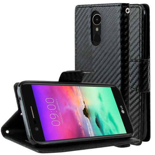 LG K10 (2017) Wallet Case, [Carbon Fiber Design] Kickstand Feature Luxury Faux Saffiano Leather Front Flip Cover with Built-in Card Slots, Magnetic Flap with Travel Wallet Phone Stand