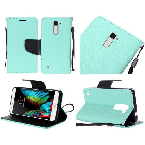 LG K10 Case, Luxury Faux Leather Saffiano Texture Front Flip Cover Diary Wallet Case w/ Magnetic Flap [Mint/ Black]