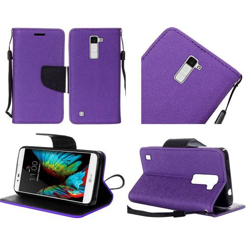LG K10 Case, Luxury Faux Leather Saffiano Texture Front Flip Cover Diary Wallet Case w/ Magnetic Flap [Purple/ Black]