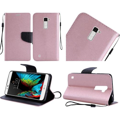 LG K10 Case, Luxury Faux Leather Saffiano Texture Front Flip Cover Diary Wallet Case w/ Magnetic Flap [Rose Gold/ Black]