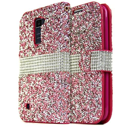 [LG K10] Wallet Case, REDshield [Pink Shiny Sparkling Gem w/ Silver] Kickstand Feature Luxury Faux Saffiano Leather Front Flip Cover with Built-in Card Slots, Magnetic Flap