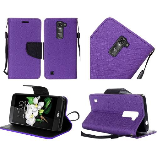 LG K7/ Tribute 5 Case, Luxury Faux Leather Saffiano Texture Front Flip Cover Diary Wallet Case w/ Magnetic Flap [Purple/ Black]