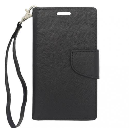 Lg L70 Wallet Case [black] Slim & Protective Flip Cover Diary Case W/ Id Slots & Magnetic Flap Closure - Keep Everything In One Place!