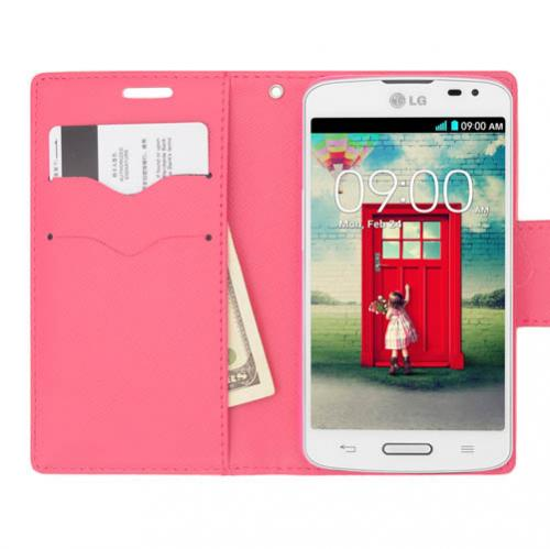 Lg L70 Wallet Case [hot Pink/pink] Slim & Protective Flip Cover Diary Case W/ Id Slots & Magnetic Flap Closure