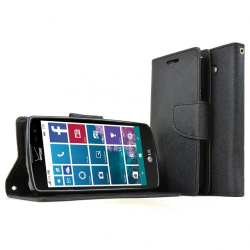 LG Lancet Case, [Black] Faux Leather Front Flip Cover Diary Wallet Case w/ Magnetic Flap