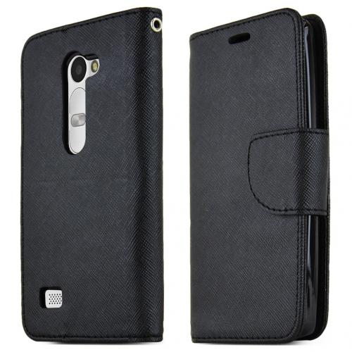LG Leon (T-Mobile, MetroPCS) Case, [BLACK] Faux Leather Front Flip Cover Diary Wallet Case w/ Magnetic Flap