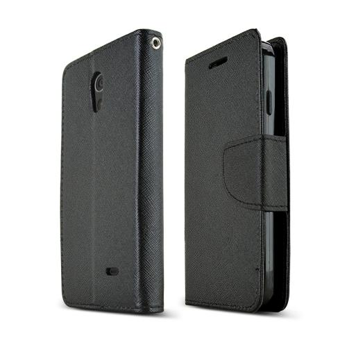 Black LG Lucid 3 Faux Leather Diary Flip Case w/ ID Slots, Bill Fold, & Magnetic Closure - Keep Everything You Need in 1 Place!
