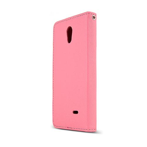 Baby Pink/ Hot Pink LG Lucid 3 Faux Leather Diary Flip Case w/ ID Slots, Bill Fold, & Magnetic Closure - Keep Everything You Need in 1 Place!