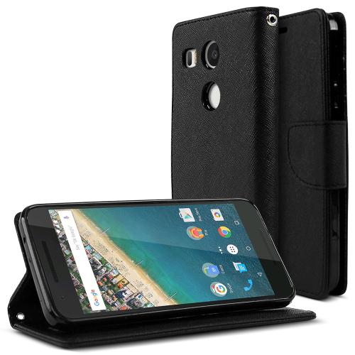 LG Google Nexus 5X Case, [Black]  Kickstand Feature Luxury Faux Saffiano Leather Front Flip Cover with Built-in Card Slots, Magnetic Flap