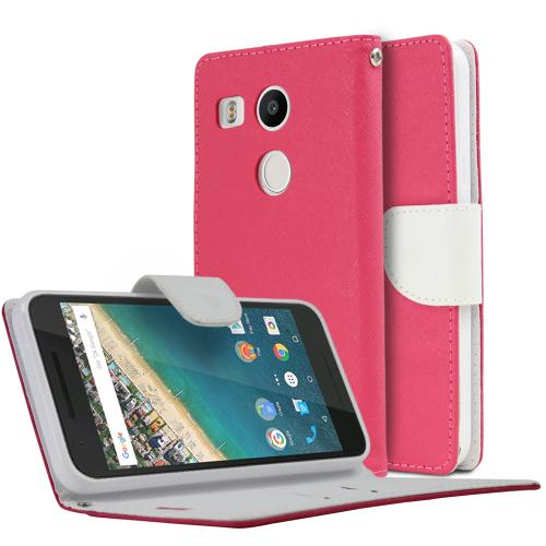 LG Google Nexus 5X Case, [Hot Pink/ White]  Kickstand Feature Luxury Faux Saffiano Leather Front Flip Cover with Built-in Card Slots, Magnetic Flap