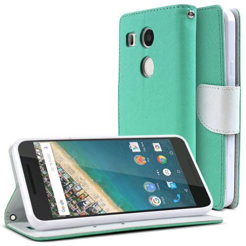 LG Google Nexus 5X Case, [Mint/ White]  Kickstand Feature Luxury Faux Saffiano Leather Front Flip Cover with Built-in Card Slots, Magnetic Flap