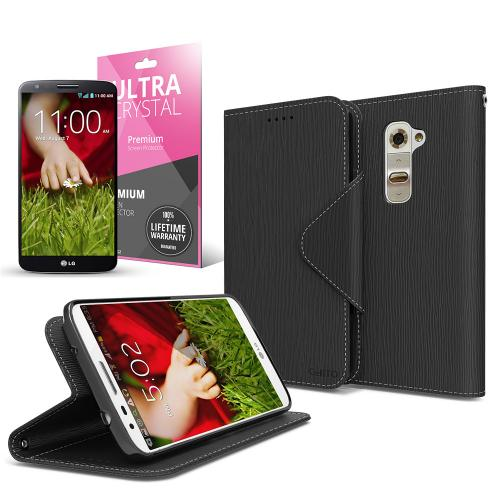 Black Faux Leather Diary Flip Case w/ ID Slots, Bill Fold, Magnetic Closure & Free Screen Protector for LG G2