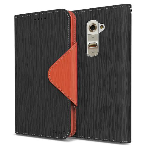 Black/ Brown Faux Leather Diary Flip Case w/ ID Slots, Bill Fold, Magnetic Closure & Free Screen Protector for LG G2 (AT&T, Sprint, T-Mobile Compatible)