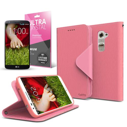 Hot Pink/ Baby Pink Faux Leather Diary Flip Case w/ ID Slots, Bill Fold, Magnetic Closure & Free Screen Protector for LG G2 (AT&T, Sprint, T-Mobile Compatible)