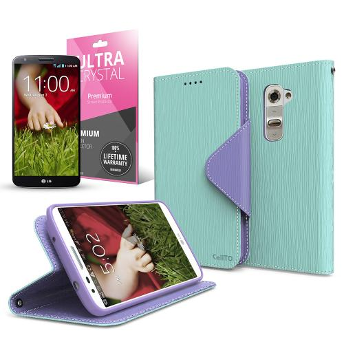 Mint/ Lavender Faux Leather Diary Flip Case w/ ID Slots, Bill Fold, Magnetic Closure & Free Screen Protector for LG G2 (AT&T, T-Mobile, & Sprint)