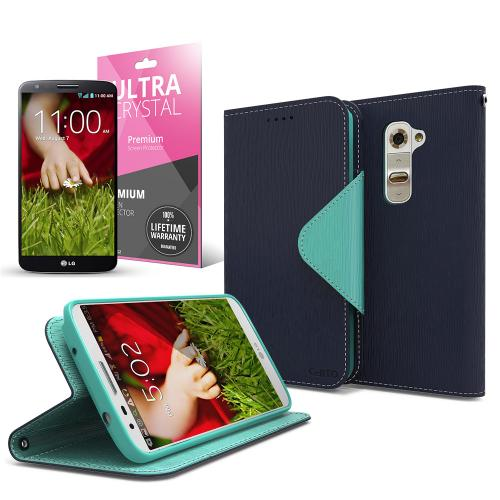 Navy/ Mint CellLine Faux Leather Diary Flip Case w/ ID Slots, Bill Fold, Magnetic Closure & Free Screen Protector for LG G2 (AT&T, T-Mobile, & Sprint)