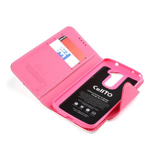 White/ Hot Pink Faux Leather Diary Flip Case w/ ID Slots, Bill Fold, Magnetic Closure & Free Screen Protector for LG G2 (AT&T, Sprint, T-Mobile Compatible)