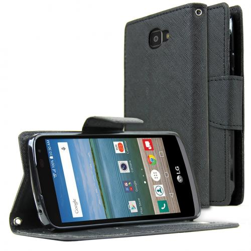 LG Optimus Zone 3 Wallet Case, REDshield [Black] Faux Saffiano Leather Front Flip Cover with Built-in Card Slots, Magnetic Flap