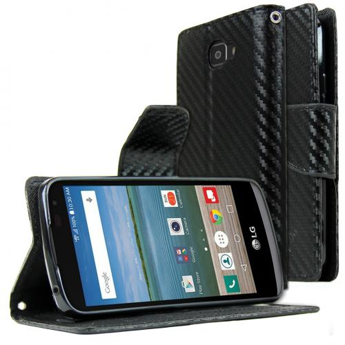 [LG Optimus Zone 3] Wallet Case, REDshield [Carbon Fiber Design] Faux Saffiano Leather Front Flip Cover with Built-in Card Slots, Magnetic Flap