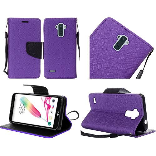 LG Stylo 2 Case, Luxury Faux Leather Saffiano Texture Front Flip Cover Diary Wallet Case w/ Magnetic Flap [Purple/ Black]