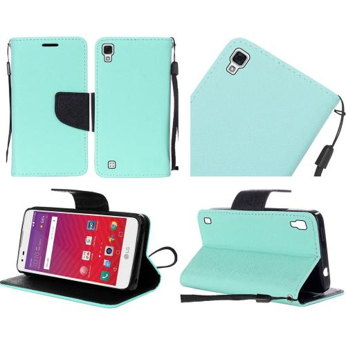 LG Tribute HD Case, Luxury Faux Leather Saffiano Texture Front Flip Cover Diary Wallet Case w/ Magnetic Flap [Mint/ Black]