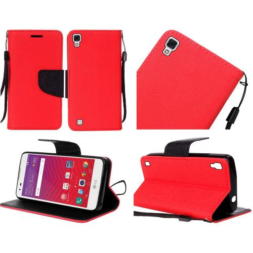 LG Tribute HD Case, Luxury Faux Leather Saffiano Texture Front Flip Cover Diary Wallet Case w/ Magnetic Flap [Red/ Black]