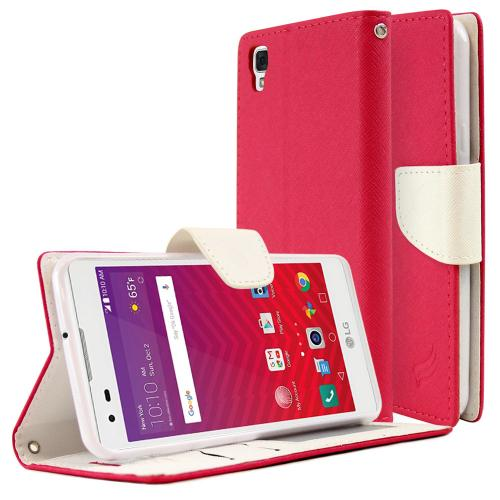 [LG Tribute HD] Diary Case, REDshield [Hot Pink/ White] Kickstand Feature Luxury Faux Saffiano Leather Front Flip Cover with Built-in Card Slots, Magnetic Flap