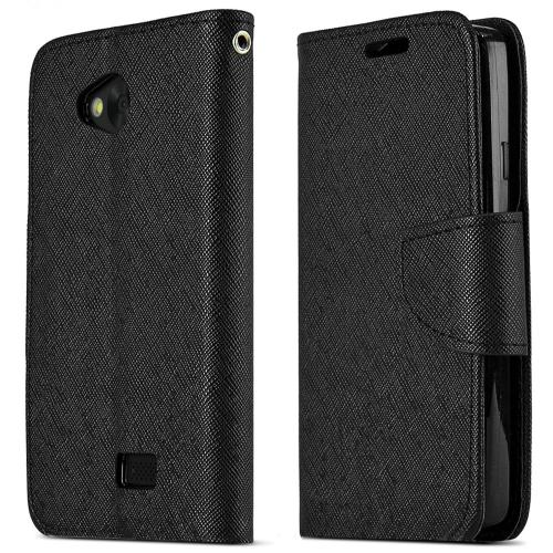 Lg Transpyre / Tribute Wallet Case [black] Slim & Protective Flip Cover Diary Case W/ Id Slots & Magnetic Flap Closure