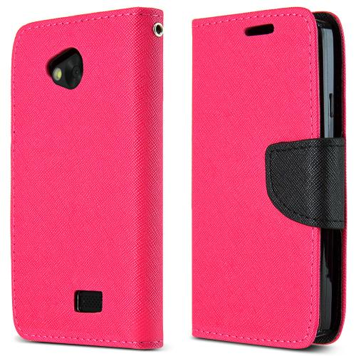 Lg Transpyre / Tribute Wallet Case [hot Pink / Black] Slim & Protective Flip Cover Diary Case W/ Id Slots & Magnetic Flap Closure