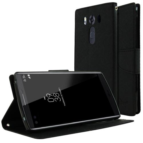 LG V10 Case, [Black] Faux Leather Front Flip Cover Diary Wallet Case w/ Magnetic Flap