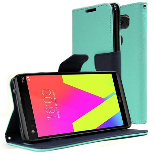 [LG V20] Diary Case, REDshield [Mint] Kickstand Feature Luxury Faux Saffiano Leather Front Flip Cover with Built-in Card Slots, Magnetic Flap