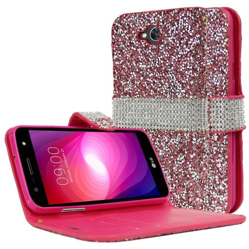 LG X Power 2 Wallet Case, REDshield [Pink Shiny Sparkling Gem w/ Silver] Kickstand Feature Luxury Faux Saffiano Leather Front Flip Cover with Built-in Card Slots, Magnetic Flap