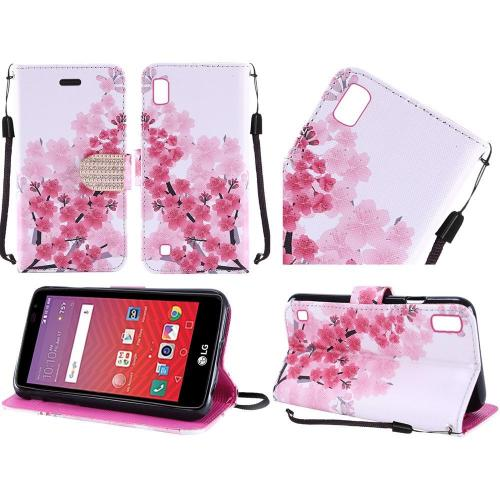 LG X Power Case, Luxury Faux Leather Saffiano Texture Front Flip Cover Diary Wallet Case w/ Magnetic Flap [Sakura Cherry Blossom]