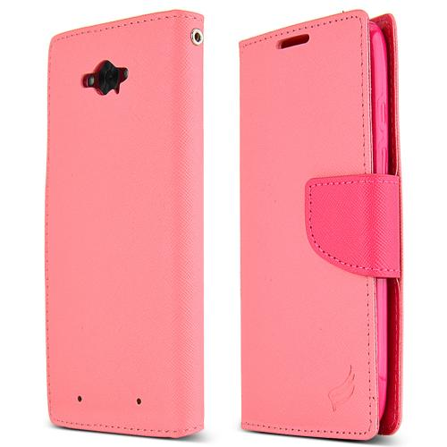 Motorola Droid Turbo Wallet Case [baby Pink / Hot Pink] Slim & Protective Flip Cover Diary Case W/ Id Slots & Magnetic Flap Closure
