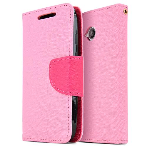 Motorola Moto E (2nd Gen.) Faux Leather Diary Flip Case [Pink] W/ Id Slots, Bill Fold, & Snap Close Magnet