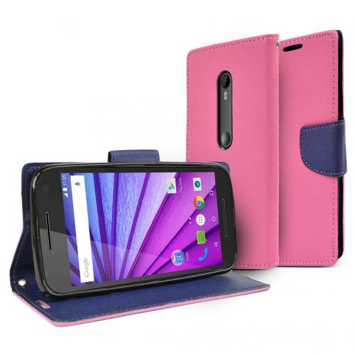 Motorola Moto G 2015 Wallet Case [Hot Pink/ Navy] Featuring Faux Leather Flip Cover, ID Slots, Bill Fold & Snap Close Magnet
