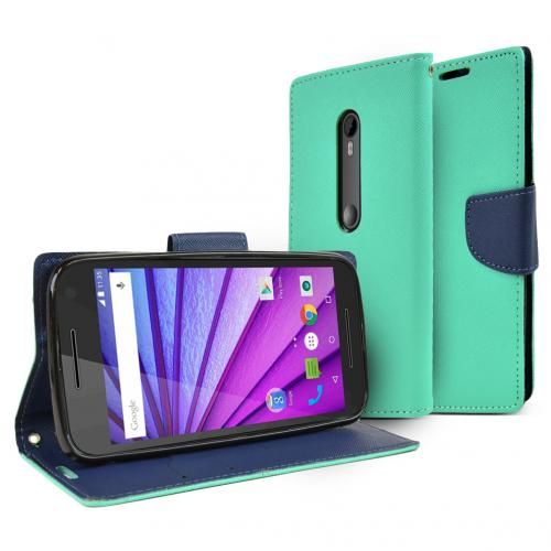 Motorola Moto G 2015 Wallet Case [Mint/ Navy] Featuring Faux Leather Flip Cover, ID Slots, Bill Fold & Snap Close Magnet