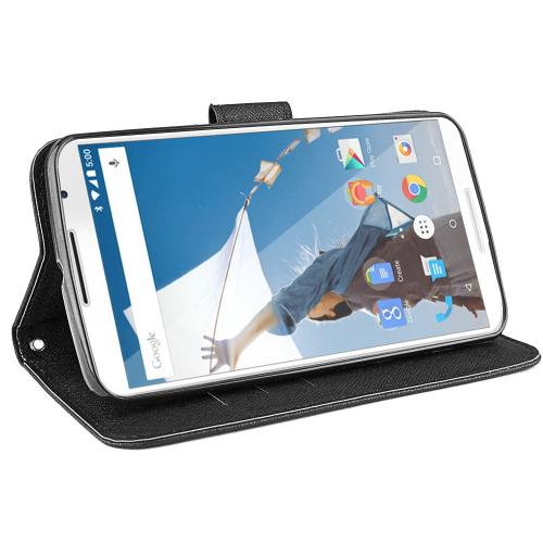 Nexus 6 Wallet Case [Black] Slim & Protective Flip Cover Diary Case Featuring ID Slots & Magnetic Flap Closure
