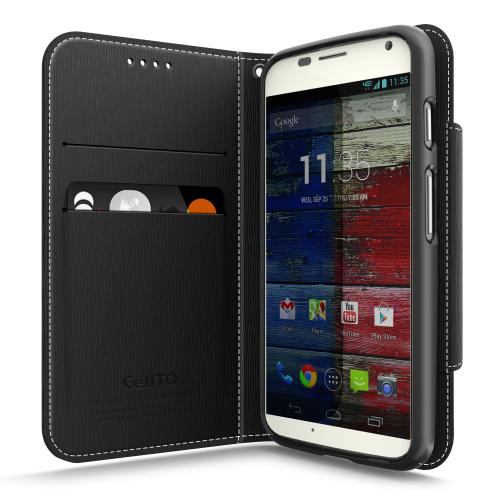 Black CellLine Faux Leather Diary Flip Case w/ ID Slots, Bill Fold, Magnetic Closure & Free Screen Protector for Motorola Moto X